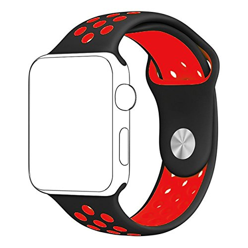 For Apple Watch 42mm Nike Sport Band, ZONEYILA Soft Silicone Quick Release Replacement Strap for Apple Watch Series 1 Series 2,iWatch Nike+ (Black+Red 42mm)