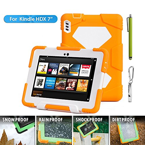 "Kindle Fire HDX 7 2013 Case,ACEGUARDER Case for Kindle Fire HDX 7"" [Rainproof] [Dirtproof] [Shockproof] Kids Proof Case With **Screen Protector**for Kindle Fire HDX 7""(only Fit Kindle Fire HDX 7 2013) Gifts **Outdoor Carabiner + Whistle + Handwritten Touc"