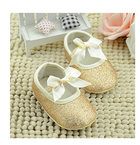 Ecosin Baby Girl Soft Sole Bowknot Bling Bling Shoes Prewalker Socks Sneakers (13/12-18months, Gold)
