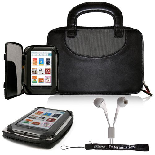 Premium Durable Professional Portfolio Cover Carrying Zipper Flip Case with Build In Handles For Barnes & Noble NOOK COLOR eBook Reader Tablet + Includes a eBigValue (TM) Determination Hand Strap + Includes a Crystal Clear HD Noise Filter Ear buds Earphon