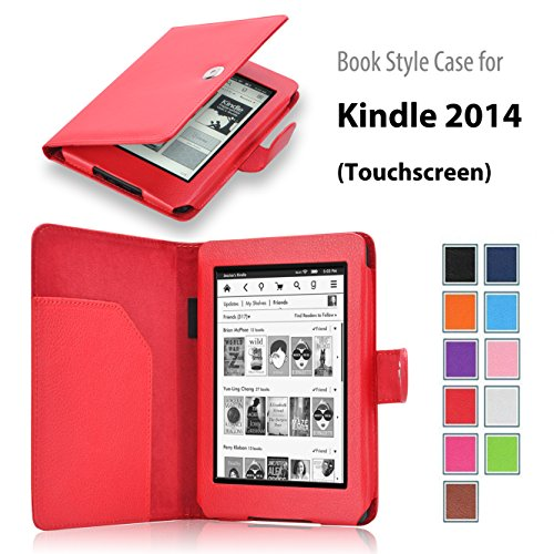 onWay Amazon Kindle (7th Generation 2014 Model) 6-inch E-Reader Slim Fit Folio Premium PU Leather Book Style Case Cover with Auto Sleep/Wake Function (will not fit previous generation Kindle devices or Paperwhite) (Kindle 7th Gen (2014), Red)