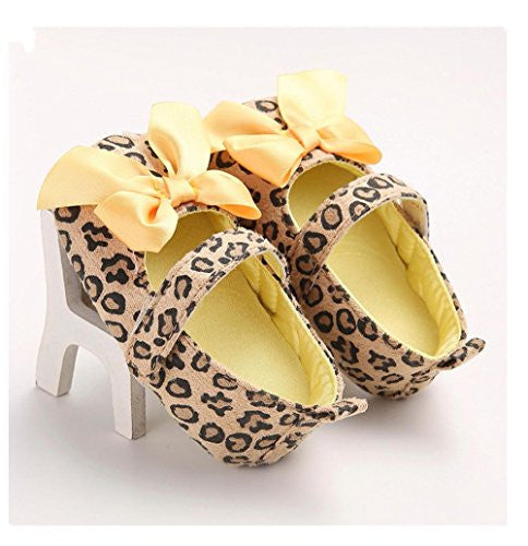 Ecosin Baby Girl Bowknot Leopard Shoes Soft bottom toddler Casual Sneakers (12/6-12months)