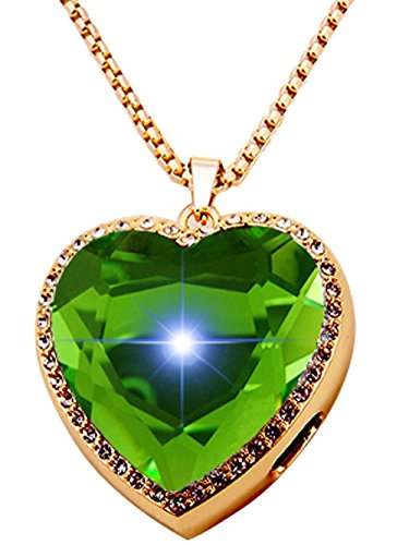 XIKEZAN Bluetooth Necklace Smart Pendant Anti Lost Call Reminder with Bling Crystal Diamond (Heart Shape Green)
