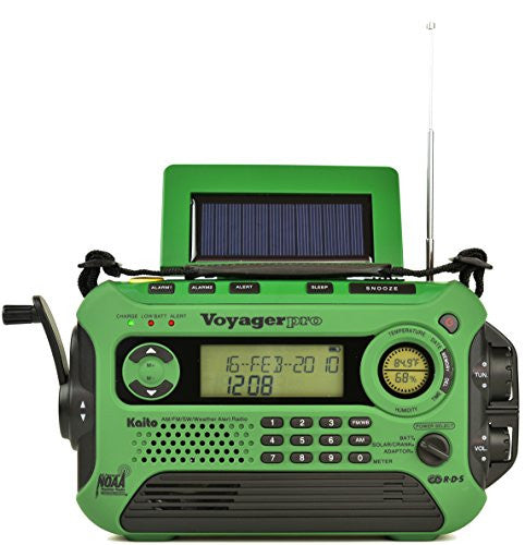 Kaito KA600L 5-Way Powered Emergency AM/FM/SW NOAA Weather Alert Radio with Solar,Dynamo Crank,Flashlight and Reading Lamp, Digital Radio with Larger Battery and Solar Panel (Green)