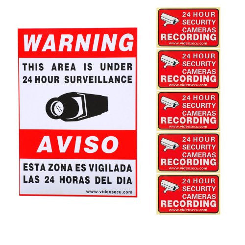 VideoSecu 6 Pack of Security Warning Signs Stickers Decals for CCTV Video Surveillance Camera System 3GB