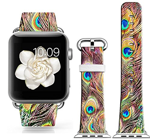 Apple Watch Band 38, Genuine Leather Apple Watch 38Mm Strap Replacement Fantastic Purple Colorful Beautiful Peacock Tails