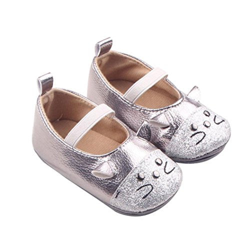 Ecosin® Baby Bowknot butterfly owl Shoes Toddler Soft bottom toddler shoes (13/12-18Months, Silver)