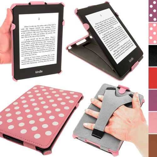 iGadgitz Pink with White Polka Dots PU Leather Case Cover for Amazon Kindle Paperwhite 2015 2014 2013 2012 With Sleep/Wake Function & Integrated Hand Strap