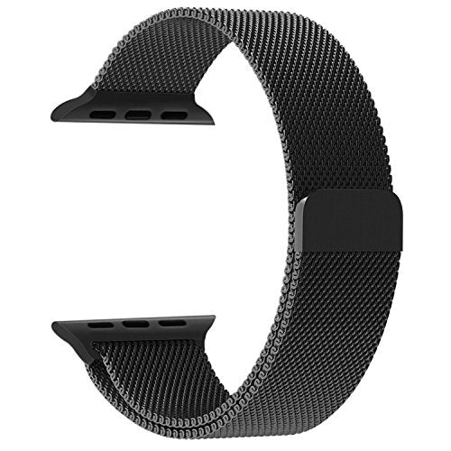 Apple Watch Band, Penom Fully Magnetic Closure Clasp Mesh Loop Milanese Stainless Steel Bracelet Strap for Apple iWatch Sport & Edition 42mm - Black