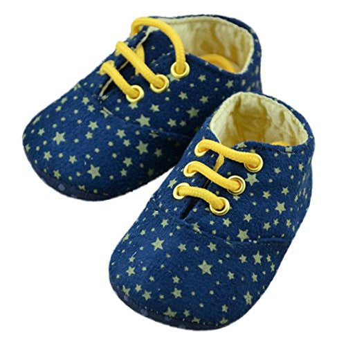 Ecosin® Baby Shoes Sky Star Lacing Printed Anti-slip Soft Toddler round Shoes (11/0-6months)