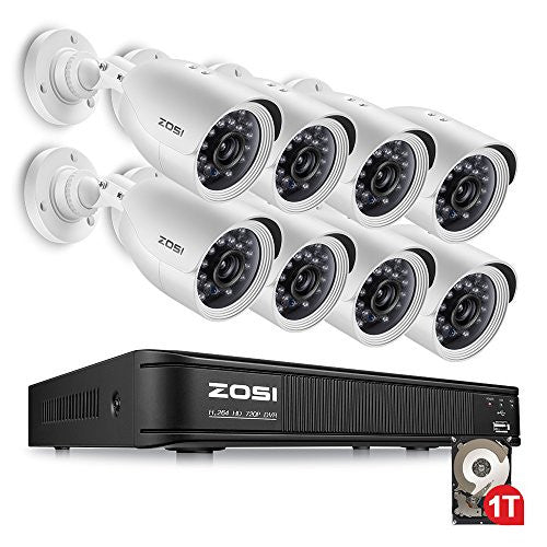 ZOSI AHD CCTV System ,8CH AHD DVR Recorder with 8 PCS 720P(1280TVL) Outdoor Indoor Surveillance Cameras