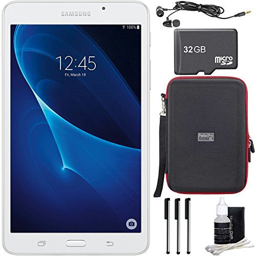 "Samsung Galaxy Tab A Lite 7.0"" 8GB Tablet PC (Wi-Fi) White Bundle includes Tablet, 32GB microSD Memory Card, Sleeve, Earbuds, 3 Stylus Pens and Cleaning Kit"