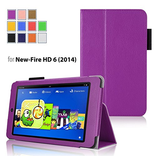 Case for Fire HD 6 - Elsse Premium Folio Case with Stand for Fire HD 6 (Oct, 2014 Release) (Purple)
