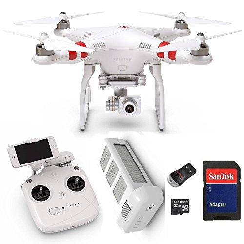 DJI Phantom 2 Vision+ V3.0 Quadcopter with FPV HD Video Camera and 3-Axis Gimbal plus 32 GB microSD Memory Card and Card Reader