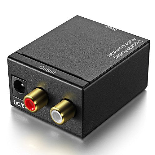 Digital Optical Coax Coaxial To Analog RCA Audio Converter Adapter With DC 5V Power Adapter