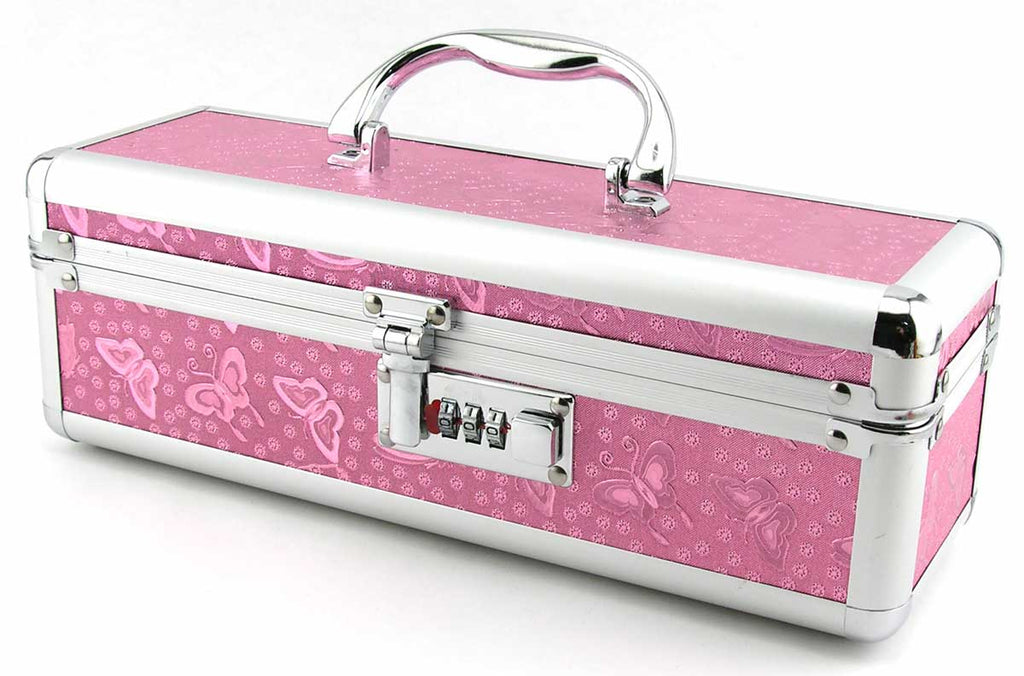Metallic Pink Sex Toy Case With A Lock