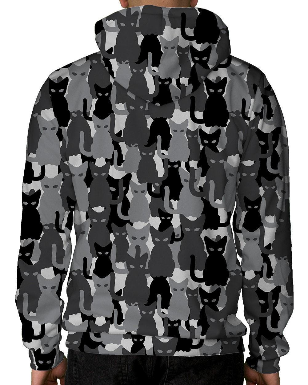 Black Camo Cats Unisex Hoodie-male back