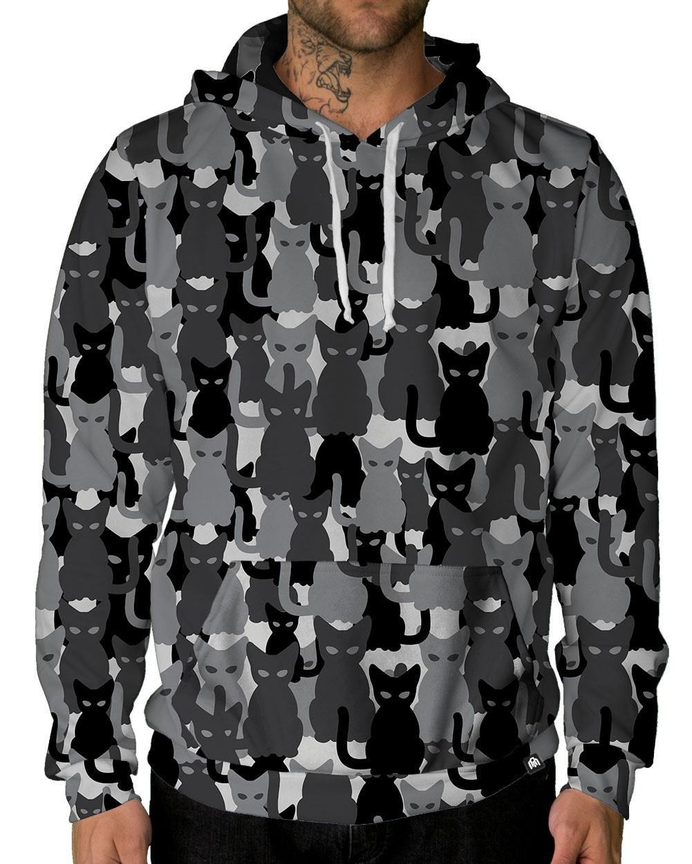 Black Camo Cats Unisex Hoodie-male front