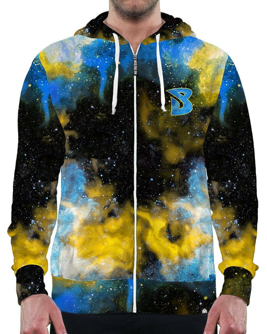 Brobarian Galaxy Zip-Up Hoodie-Male-Front