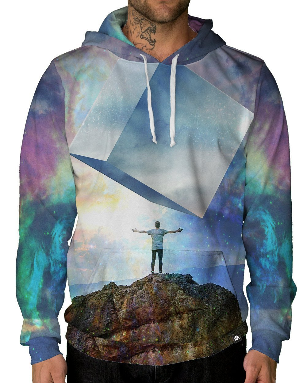 Chromatic Skies Pullover Hoodie-Male-Front