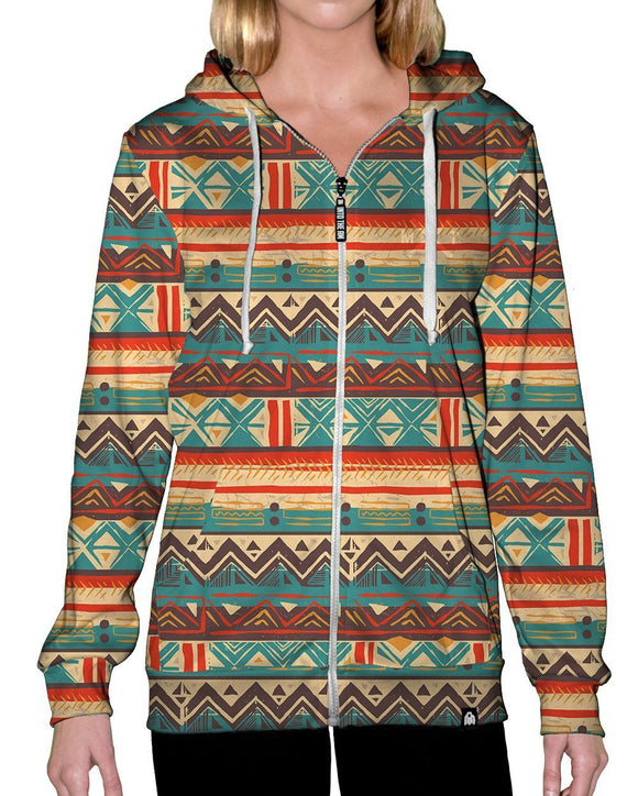 Desert Tribal Zip-Up Hoodie