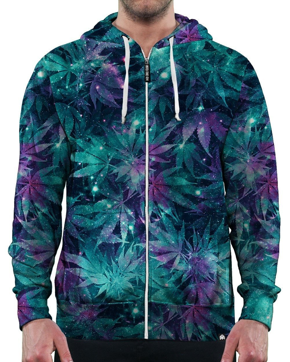 Ganja Galaxy Zip-Up Hoodie-Front