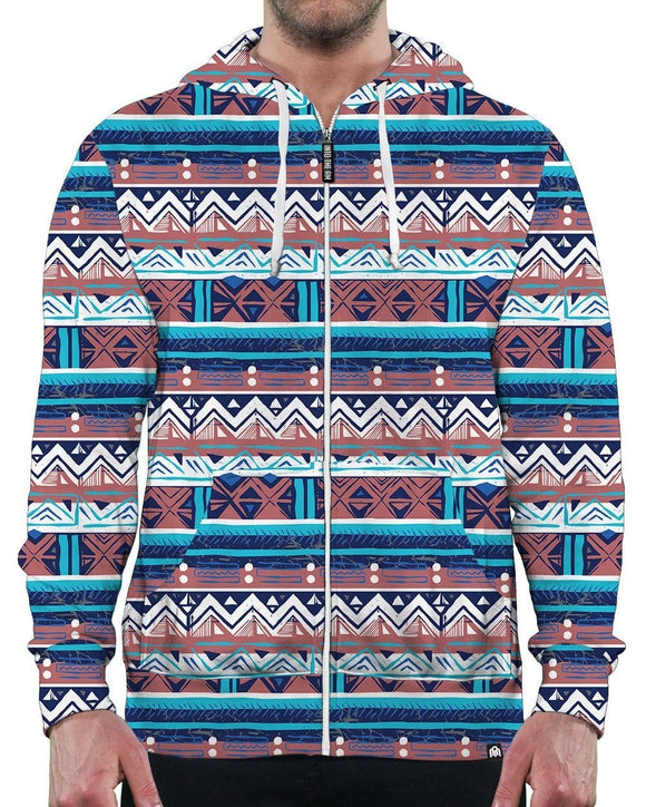 Glacier Tribal Zip-Up Hoodie-Front