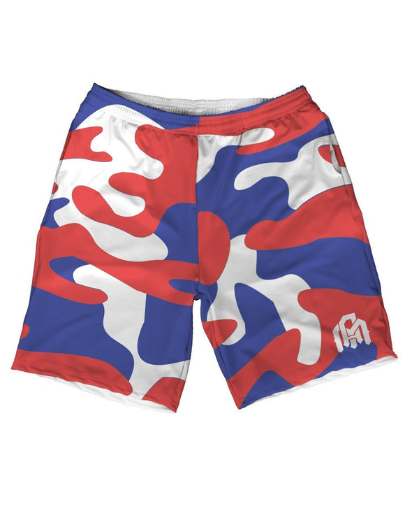 Patriotic Camo Men's Athletic Shorts-Front