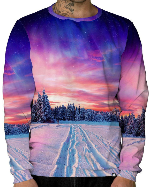 Snow Tracks Unisex Crewneck Sweatshirt-Male-front