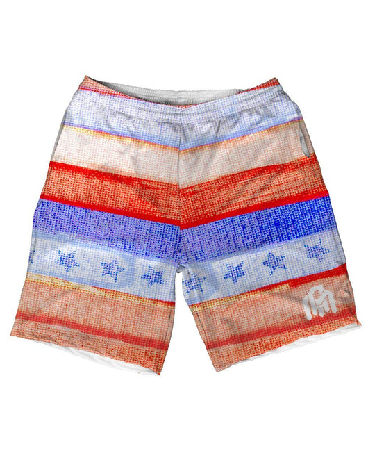Watercolor Stripes Men's Athletic Shorts-Front