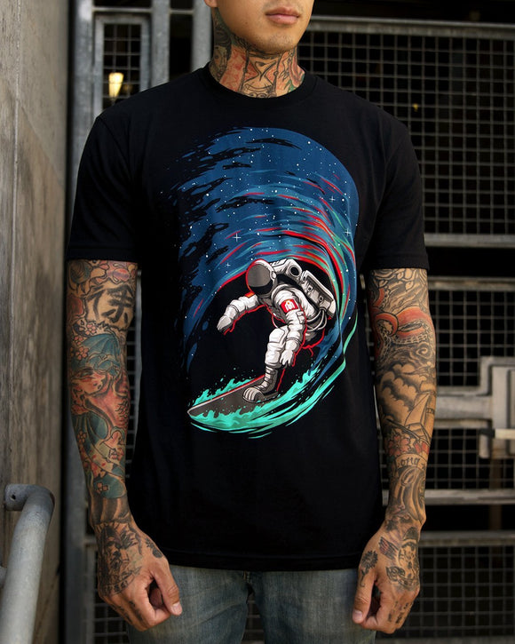 Star Surfer Men's Tee-Front-Black-Lifestyle Model
