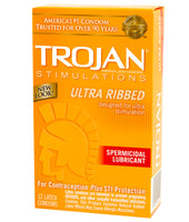 Trojan Ultra Ribbed Condoms - With Spermicidal Lube