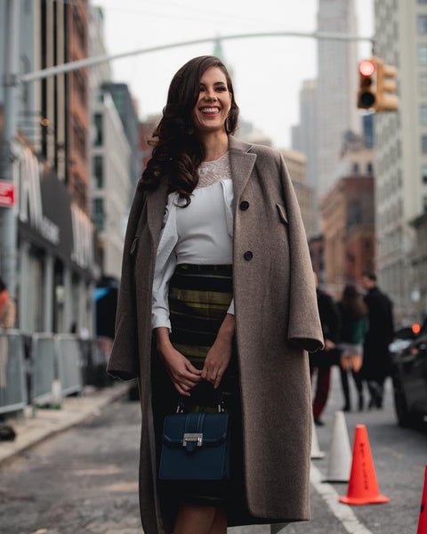 Miss Universe Catriona Gray carrying Dan-Bi Top handle to NYFW
