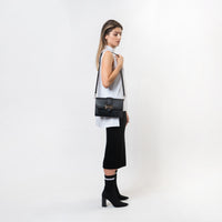 Eun-Bi Clutch in Pebbled Black