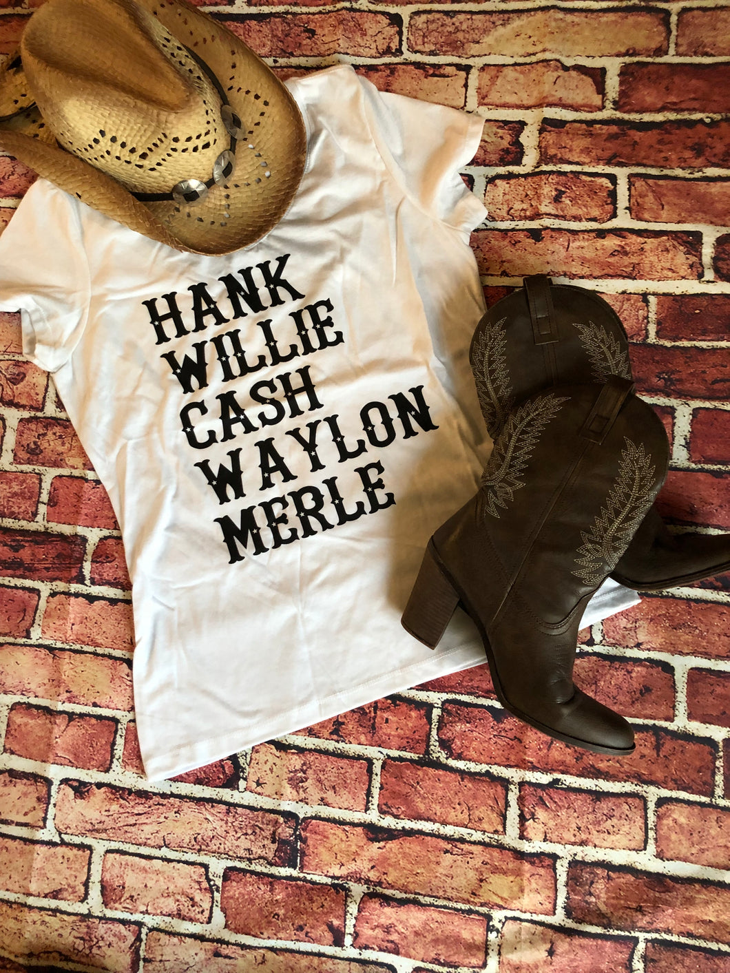 Plain White Tee Hank Willie Cash Waylon and Merle T Shirt