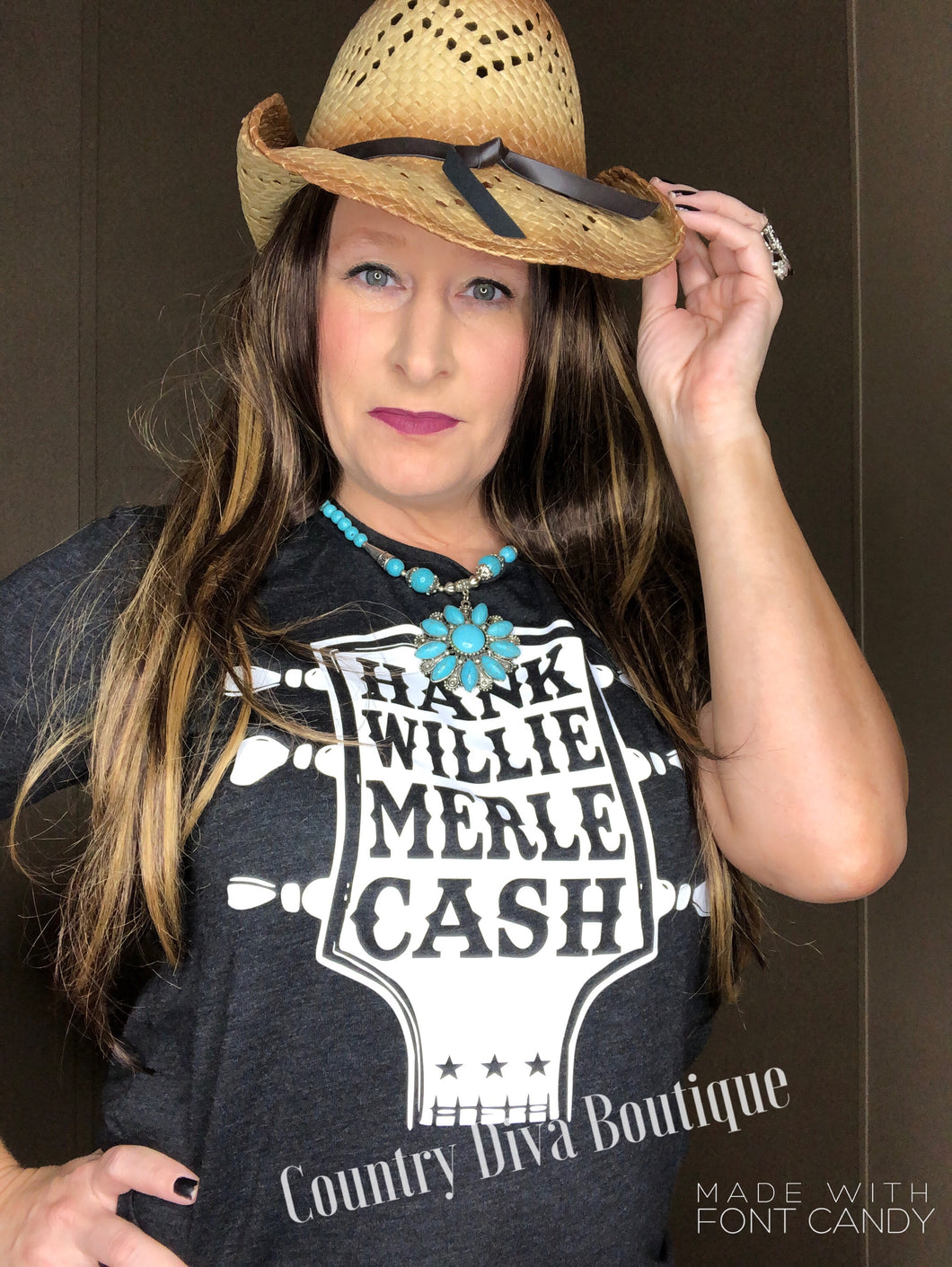 Hank Willie Cash Waylon Merle  Guitar T Shirt