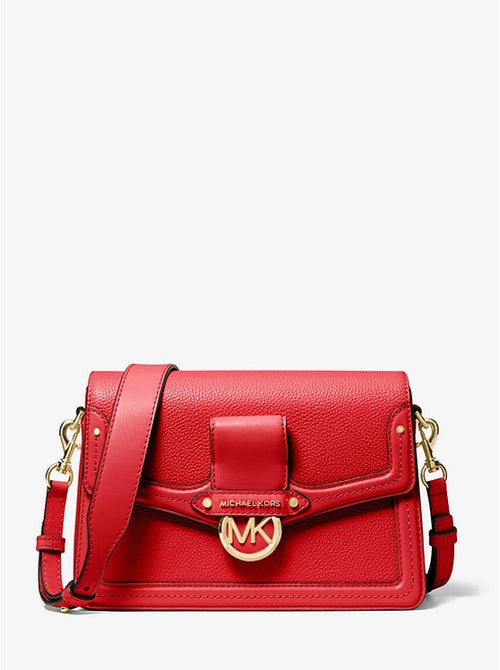 Jessie Medium Pebbled Leather Shoulder Bag | Michael Kors Style # 30F9GI6L2L BRIGHT RED