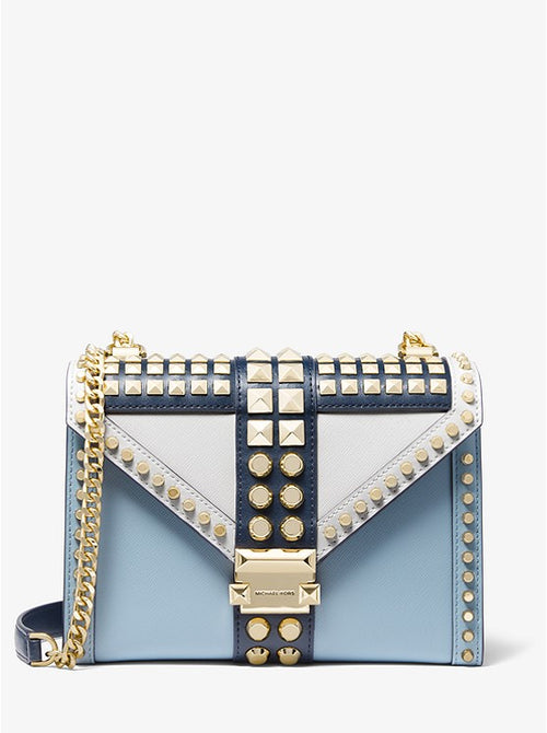 Whitney Large Studded Saffiano Leather Convertible Shoulder Bag | Michael Kors Style #   30F9GWHL3T Navy/White/PBLU