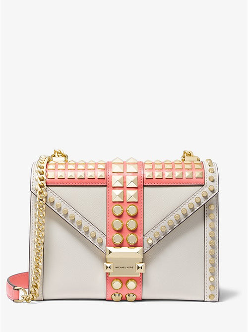 Whitney Large Studded Saffiano Shoulder Bag | Michael Kors Style #30F9GWHL3T Pink Grapefruit Multi