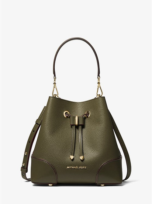 Mercer Gallery Small Pebbled Leather Shoulder Bag | Michael Kors Style # 30F9GZ5L1L Olive