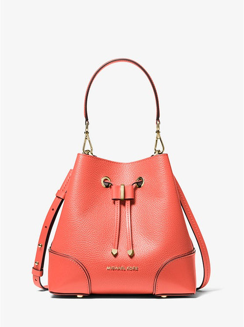 Mercer Gallery Small Pebbled Leather Shoulder Bag | Michael Kors Style# 30F9GZ5L1L Pink Grapefruit