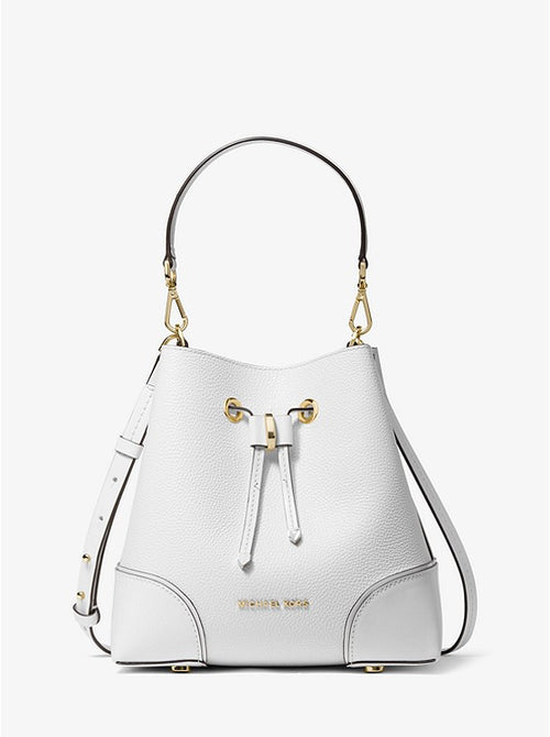 Mercer Gallery Small Pebbled Leather Shoulder Bag | Michael Kors Style # 30F9GZ5L1L Optic White