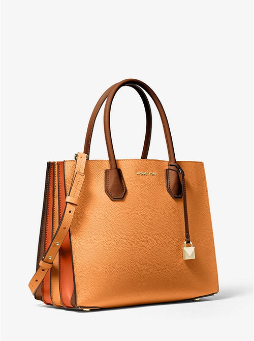 Mercer Large Tri-color Pebbled Leather Accordion Tote | Michael Kors Style # 30H8GM9T3T Cider Multi