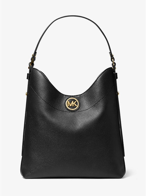 Bowery Large Pebbled Leather Shoulder Bag | Michael Kors Style # 30S0GBOH3L Black