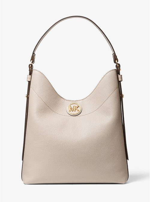 Bowery Large Pebbled Leather Shoulder Bag | Michael Kors Style # 30S0GBOH3L Light Sand