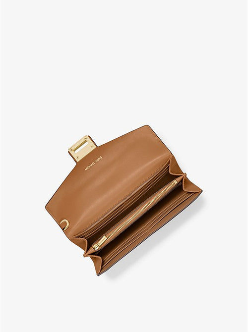 Manhattan Large Viola Leather And Logo Clutch | Michael Kors Style# 32F9GNCE7L Vanilla/Acorn
