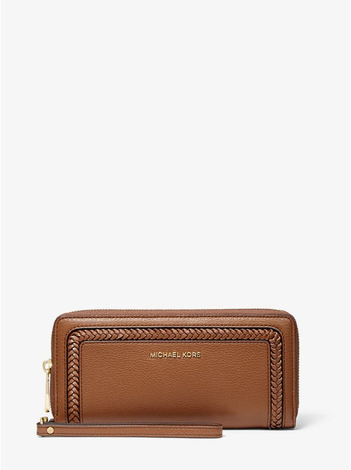 Lexington Large Pebbled Leather Continental Wristlet | Michael Kors Style # 32F9GNDE7L LUGGAGE
