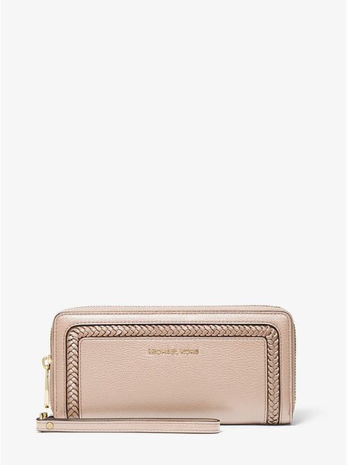 Lexington Large Pebbled Leather Continental Wristlet | Michael Kors Style # 32F9GNDE7L SOFT PINK