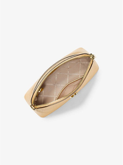 Large Metallic Crossgrain Leather Dome Crossbody Bag | Michael KorsAsset Style# 32H9GOXC3M Pale Gold