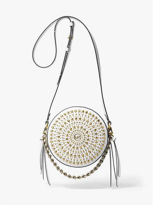 Delancey Medium Studded Leather Canteen Crossbody Bag | Michael Kors Style # 32T0BD8C6L Optic White